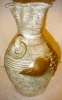 Click to view larger image of Pottery Vase with Metal Overlay (Image2)