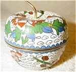 Click here to enlarge image and see more about item 1908: Cloisonne Box in Shape of an Apple