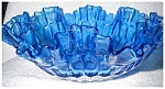 Click here to enlarge image and see more about item 2098: Blue Glass Ruffle Bowl
