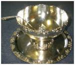 Click here to enlarge image and see more about item 2278: Vintage Silverplate Punch Bowl, Tray, Ladle, and Cups
