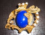 Click here to enlarge image and see more about item 2411: Lapis and Goldtone Pin