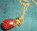 Click to view larger image of Egg Pendant in Red Crystals (Image4)
