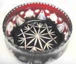 Click to view larger image of Cut to Clear Red Crystal Lidded Bowl (Image2)