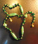 Click to view larger image of Green Cloisonne and Stone Necklace (Image5)