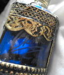 Click to view larger image of Fancy Blue Glass Perfume Bottle with Metal Overlay (Image5)