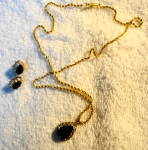Click to view larger image of Sapphire and Gold Teardrop Earrings and Necklace (Image1)