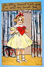 A Valentine to You Postcard with Girl Holding Heart