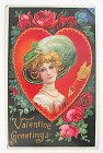 Valentine Greetings Postcard With Lovely Woman