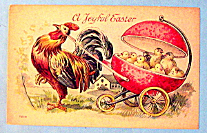 Joyful Easter Postcard with Rooster Pulling Chicks (Image1)
