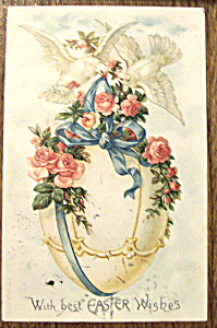 With Best Easter Wishes Postcard with Two Doves & Egg (Image1)