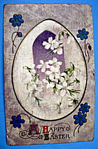 A Happy Easter Postcard w/an Egg with Painted Flowers (Image1)