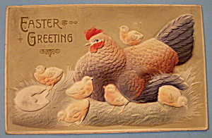 Easter Greetings Postcard w/Chicken and Six Chicks (Image1)