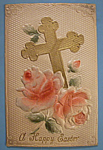 Happy Easter Postcard with a Cross & Pink Flowers (Image1)