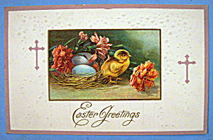 Easter Greetings Postcard w/Chick Standing by Nest (Image1)