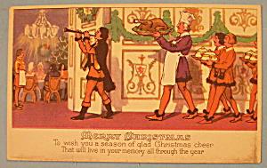 Merry Christmas Postcard w/Christmas Dinner & Guests (Image1)