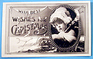 With Best Wishes for Christmas Postcard with Young Girl (Image1)
