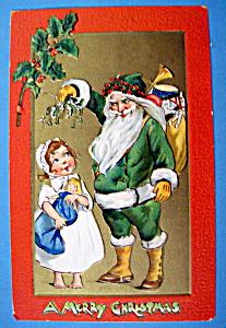 A Merry Christmas Postcard w/Santa Claus & Little Girl (Image1)