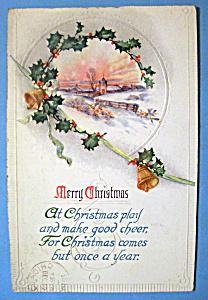 Merry Christmas Postcard w/Mistletoe Around a View (Image1)