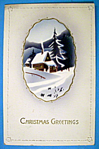 Christmas Greetings Postcard with House Covered in Snow (Image1)