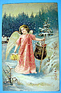 A Merry Christmas Postcard w/Angel Walking at Night (Image1)