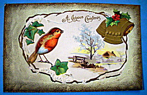 A Joyful Christmas Postcard with Bird Perched on Branch (Image1)