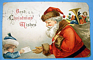 Best Christmas Wishes Postcard By Ellen H. Clapsaddle (Image1)