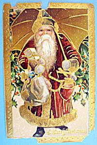 A Merry Christmas Postcard w/Santa Claus (Embossed) (Image1)
