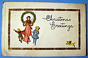 Christmas Greetings Postcard w/Mother & Two Children (Image1)