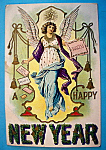 Happy New Year Postcard with an Angel (Embossed) (Image1)