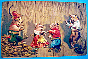 Happy New Years Postcard with Four Pigs Dancing (Image1)