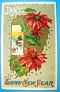 Happy New Year Postcard with Red Poinsettas (Embossed) (Image1)