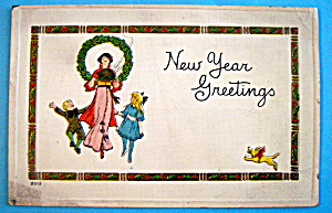 New Year Greetings Postcard with Mother & 2 Children (Image1)