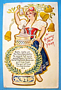A Happy New Year Postcard with Dutch Woman & Stein (Image1)