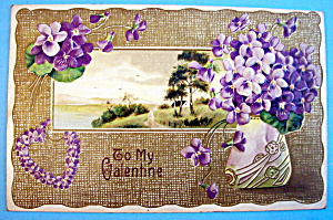 To My Valentine Postcard with Purple Flowers (Embossed) (Image1)