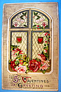 Valentine's Greeting Postcard with Floral Design (Image1)
