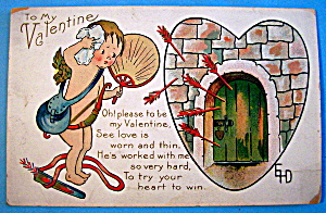 To My Valentine Postcard with Cupid Wiping his Head (Image1)