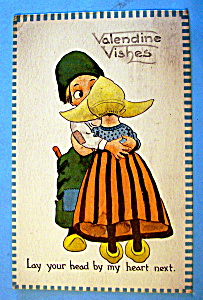 Valentine's Wishes Postcard with Boy Hugging a Girl (Image1)