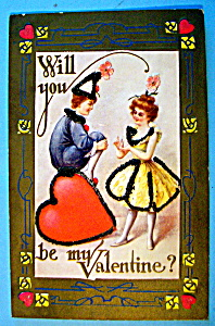 Will You Be My Valentine Postcard with Couple Talking (Image1)