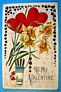 To My Valentine Postcard with Hearts & Flowers (Image1)
