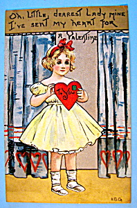 A Valentine to You Postcard with Girl Holding Heart (Image1)