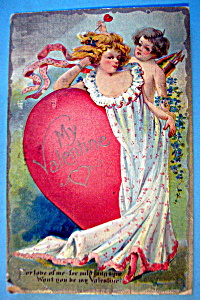My Valentine Postcard w/ Woman Leaning on a Heart (Image1)