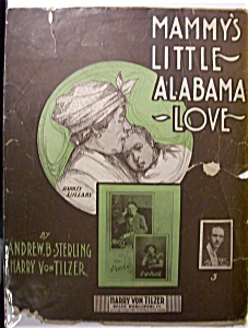 Sheet Music Of 1903 Mammy's Little Alabama Love