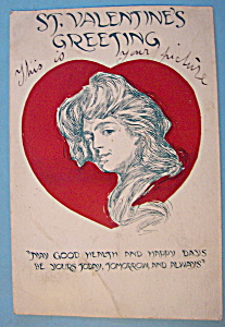 St. Valentines Greeting Postcard with Woman & Heart (Image1)