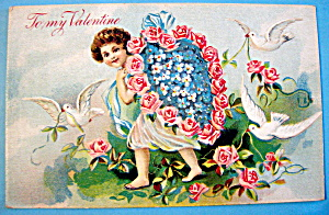 To My Valentine Postcard with Angel Carrying Heart (Image1)