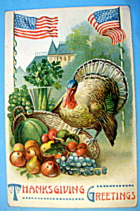 Thanksgiving Greetings Postcard with Turkey & Basket (Image1)