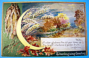 Thanksgiving Greetings Postcard with Crescent Moon (Image1)