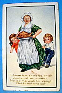 Thanksgiving Greetings Postcard w/ Mom Carrying Turkey (Image1)