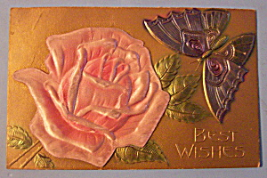 Best Wishes Postcard W/pink Rose & Butterfly