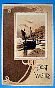 Best Wishes Postcard W/sailboat With Rope