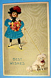 Best Wishes Postcard W/little Girl & Dog-fabric Overlay